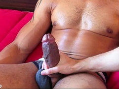 Bachir a very sexy mixed guy get wanked his huge black monster cock by me !
