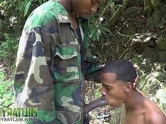 Handsome soldiers having oral fun