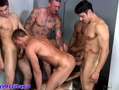 Group of jocks enjoying a hardcore orgy
