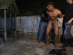 Dudes have hot bareback threesome fuck with bandit outside