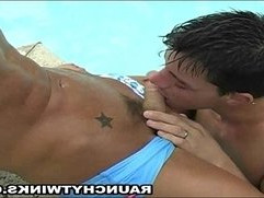 Wild Blonde Hunk Pool Blowjob