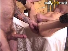 Smooth Hunk getting Fucked Anally By Two Furry Men