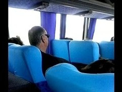 Grabbing cock in the bus