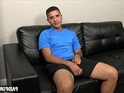 Straight amateur hunk tugging his cock for money